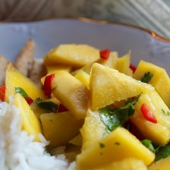 Chicken, mango, rice